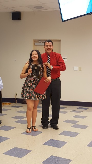 Sofia Lomeli w teacher Mr. De La Rosa